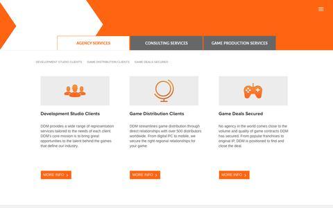 Screenshot of Services Page ddmagency.com - AGENCY SERVICES via DDM Game Studio Representation LLC | DDM | Digital Development Management - captured Nov. 24, 2016