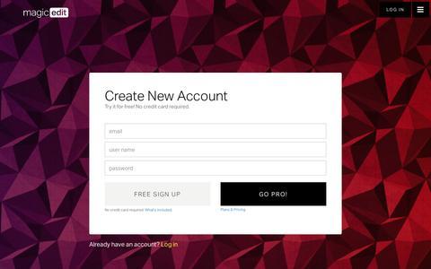 Screenshot of Signup Page magicedit.com - MagicEdit.com - captured Dec. 20, 2015