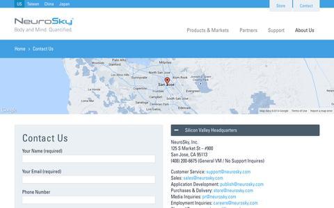 Screenshot of Contact Page neurosky.com - Contact NeuroSky   NeuroSky - captured Sept. 12, 2014