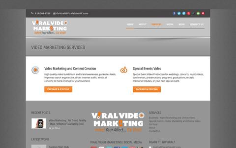 Screenshot of Services Page viralvideokc.com - Video Marketing | Video Production | Services - captured Nov. 1, 2014