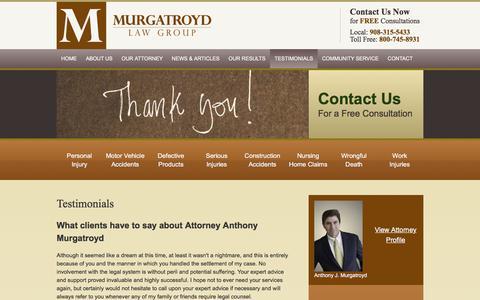 Screenshot of Testimonials Page murgatroydlaw.com - Testimonials | Murgatroyd Law Group | Flemington, New Jersey - captured Sept. 25, 2018