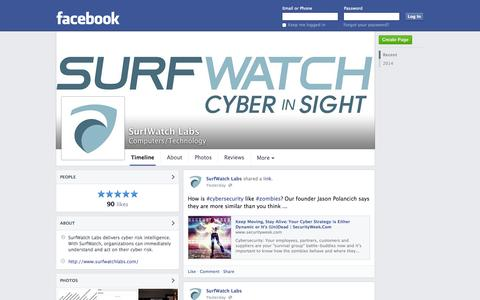 Screenshot of Facebook Page facebook.com - SurfWatch Labs - Sterling, Virginia - Computers/Technology | Facebook - captured Oct. 25, 2014