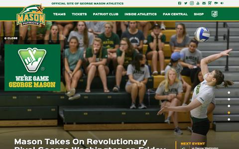 Screenshot of Home Page gomason.com - GoMason.com - The Official Athletic Site of George Mason University Athletics - captured Sept. 27, 2018