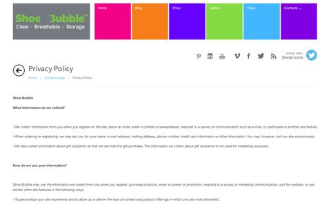 Screenshot of Privacy Page shoebubble.com - Privacy Policy - captured Oct. 26, 2014