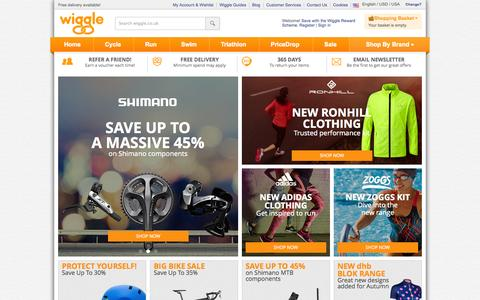 Screenshot of Home Page wiggle.co.uk - Wiggle | Cycle | Run | Swim | Tri-Sports & Bike Shop - captured Sept. 18, 2014