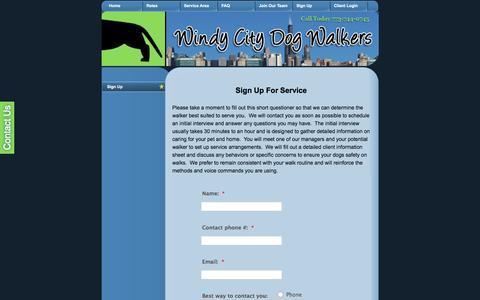 Screenshot of Signup Page windycitydogwalkers.com - Dog Walking Sign Up - Windy City Dog Walker - Chicago Dog Walkers - captured June 25, 2016