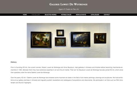 Screenshot of About Page kd-art.be - Galerie Lowet de Wotrenge - captured Oct. 29, 2014
