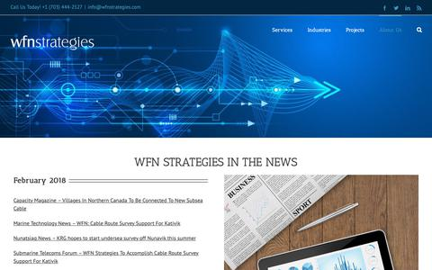 Screenshot of Press Page wfnstrategies.com - In The News - WFN Strategies - captured Oct. 20, 2018