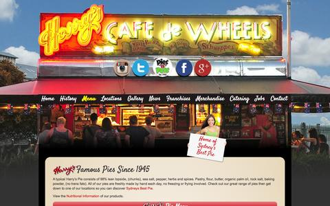 Screenshot of Menu Page harryscafedewheels.com.au - Our Menu - Harrys Cafe De Wheels - captured Sept. 29, 2014