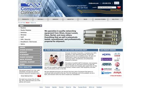 Screenshot of About Page cccmn.com - Sell and Buy Used and Refurbished Networking Products from Cisco, Nortel, Foundry, Avaya - captured Oct. 30, 2014