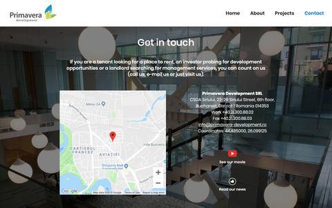 Screenshot of Contact Page primavera-development.ro - Primavera Development: Get in touch - captured Feb. 1, 2019