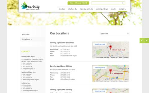 Screenshot of Contact Page Locations Page carinity.org.au - Our Locations | Carinity - captured July 11, 2016