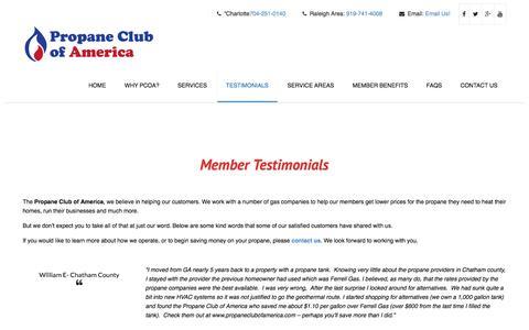 Screenshot of Testimonials Page pcoanc.com - Member Testimonials - Affordable Propane - Propane Club of America - captured Nov. 22, 2017