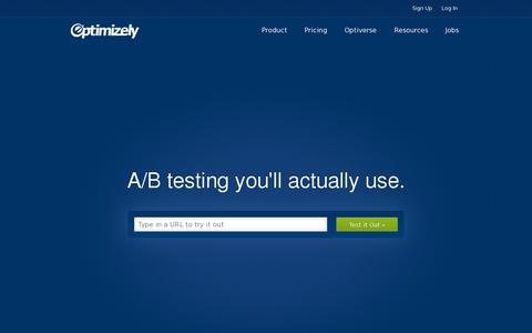 Screenshot of Home Page optimizely.com - Optimizely: A/B testing software you'll actually use - captured July 11, 2014