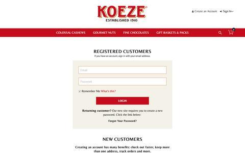 Screenshot of Login Page koeze.com - Customer Login - captured Oct. 15, 2018