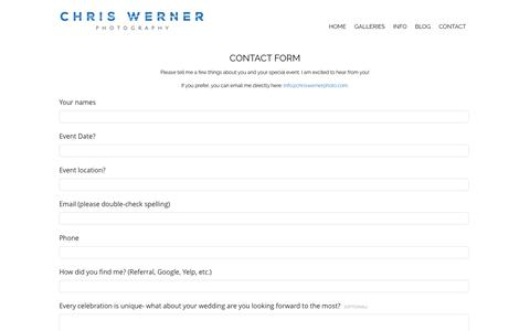 Screenshot of Contact Page chriswernerphoto.com - Contact Form: Request Package & Prices Information - captured June 16, 2019