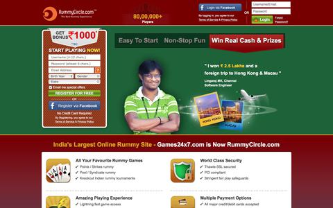 Screenshot of Home Page rummycircle.com - Rummy Online | Play Free Indian Rummy Games, Rummy Card Game - captured Sept. 21, 2018