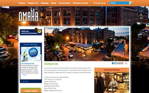 Screenshot of Contact Page visitomaha.com - Omaha Hotels, Things To Do, Restaurants - Official Visitor Information - captured Sept. 22, 2014