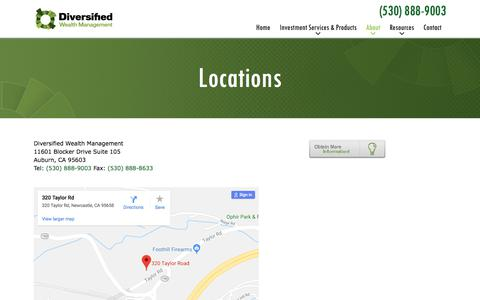 Screenshot of Locations Page diversifiedwealth.com - Locations   Diversified Wealth Management - captured Aug. 6, 2018