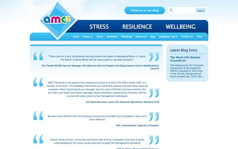Screenshot of Testimonials Page amc2.co.uk - Stress Management, Resilience and Wellbeing - captured Oct. 4, 2014