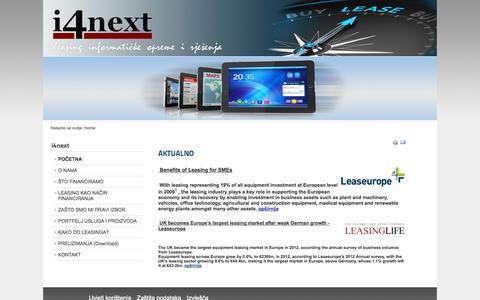 Screenshot of Home Page i4next.hr - i4next leasing Croatia d.o.o. - POČETNA - captured Oct. 6, 2014