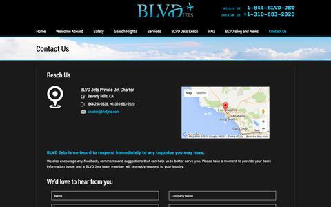 Screenshot of Contact Page blvdjets.com - Contact Us | BLVD Jets Private Jet Charter - captured Dec. 28, 2015
