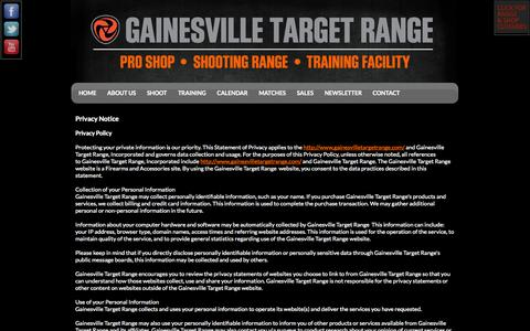 Screenshot of Privacy Page gainesvilletargetrange.com - Privacy Policy - captured Sept. 29, 2014