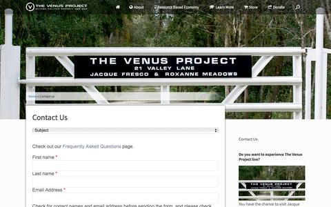 Screenshot of Contact Page thevenusproject.com - Contact Us | The Venus Project - captured Aug. 26, 2016