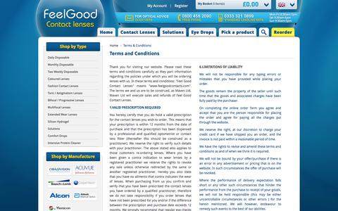 Screenshot of Terms Page feelgoodcontacts.com - Terms & Conditions | Feelgoodcontacts.com® - captured Nov. 1, 2014