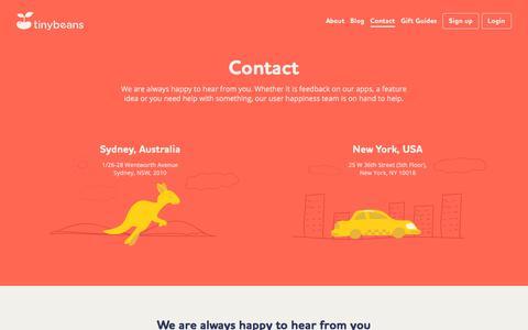 Screenshot of Contact Page tinybeans.com - Tinybeans | Contact us - captured Sept. 21, 2018