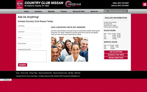 Screenshot of Contact Page countryclubnissan.com - Country Club Nissan - Oneonta, NY | Ask Us Anything! - captured June 20, 2016