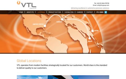 Screenshot of Locations Page vtl-group.com - VTL Group | Locations | UK | USA | India | Japan - captured Dec. 4, 2015