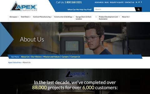 Screenshot of About Page apexindustries.com - About Us - Apex Industries - captured Oct. 3, 2018