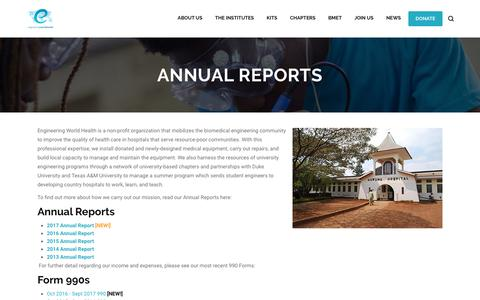 Screenshot of Press Page ewh.org - Annual Reports | Engineering World Health - captured Sept. 28, 2018