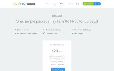 Screenshot of Pricing Page farmflo.com - Farmflo | Pricing - captured Sept. 12, 2014
