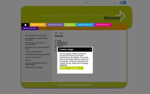 Screenshot of Site Map Page kinesis-pharma.com - Sitemap | Kinesis - captured Oct. 6, 2014