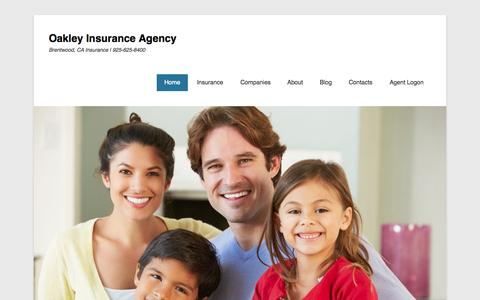 Screenshot of Home Page Menu Page oakleyins.com - Brentwood & Antioch, CA Insurance | Oakley Insurance - captured Oct. 7, 2014