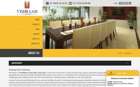 Screenshot of About Page vishraam.com - About Us | Vishraam Builders - captured Feb. 18, 2019