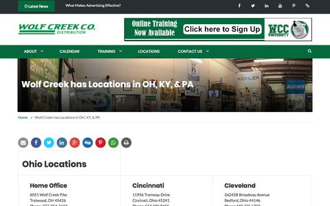 Screenshot of Locations Page wolfcreekcompany.com - Wolf Creek has Locations in OH, KY, & PA - Wolf Creek Company - captured Nov. 4, 2017