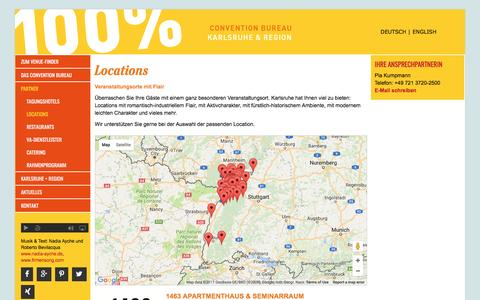 Screenshot of Locations Page conventionbureau-karlsruhe.de - Locations - Convention Bureau Karlsruhe - captured March 28, 2017