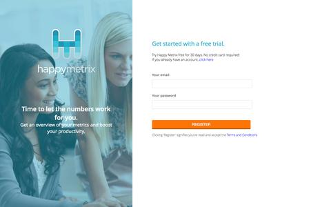 Screenshot of Signup Page happymetrix.com - Happy Metrix - captured Oct. 28, 2014