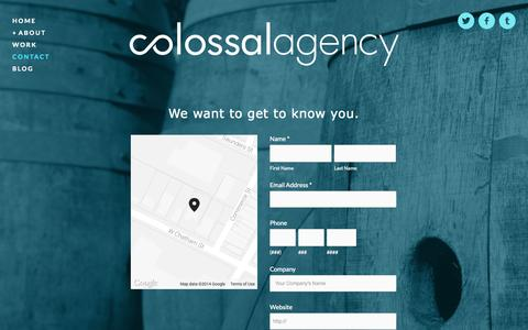 Screenshot of Contact Page colossalagency.com - Contact — Colossal Agency - captured Sept. 30, 2014