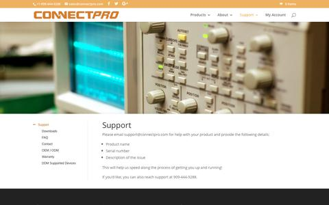 Screenshot of Support Page connectpro.com - Support: Downloads, FAQ, Contact, OEM/ODM, Warranty - ConnectPRO - captured July 21, 2018