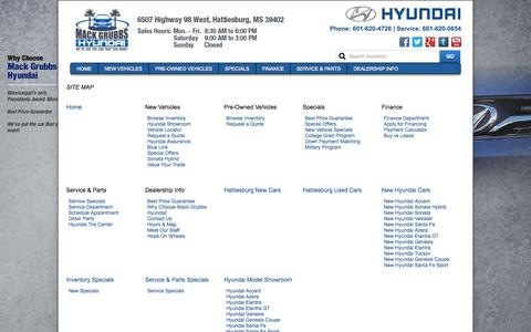 Screenshot of Site Map Page mackgrubbshyundai.com - Gulfport Area Hyundai Dealer | Mack Grubbs Hyundai in Hattiesburg, Mississippi | Serving Laurel & Columbia - captured Aug. 2, 2015