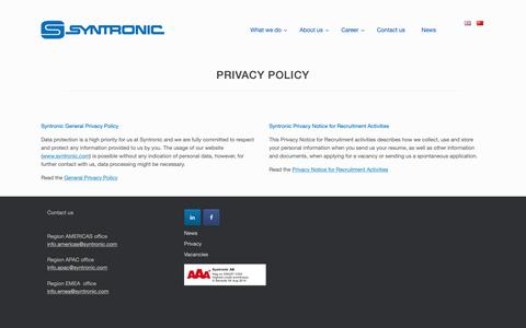 Screenshot of Privacy Page syntronic.com - Privacy Policy - Syntronic - captured Oct. 19, 2018