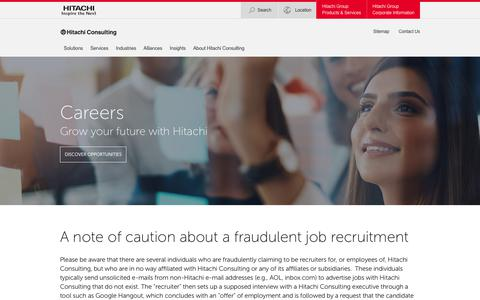 Screenshot of Jobs Page hitachiconsulting.com - Careers | Hitachi Consulting - captured Feb. 5, 2019