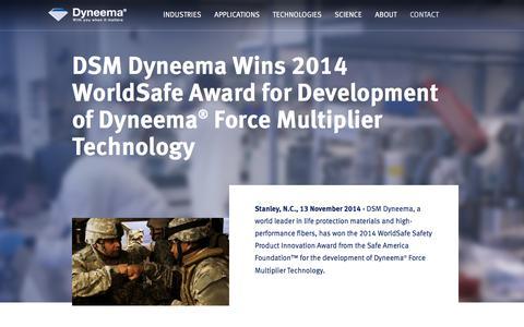 Screenshot of Press Page dsm.com - DSM Dyneema Wins 2014 WorldSafe Award | 2014 | Dyneema® - captured July 14, 2018