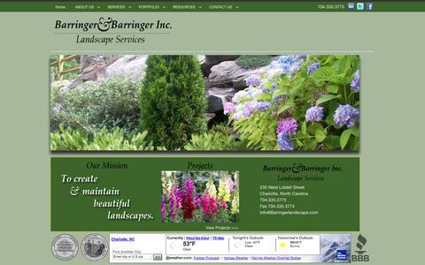 Screenshot of Home Page barringerlandscape.com - Home - Barringer & Barringer Landscape, Inc. - captured Oct. 5, 2014