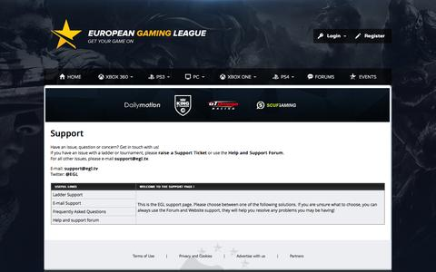 Screenshot of Support Page egl.tv - European Gaming League - captured Sept. 19, 2014