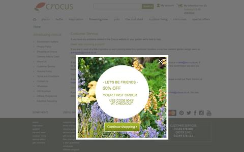 Screenshot of Support Page crocus.co.uk - Customer Service - captured Nov. 11, 2016